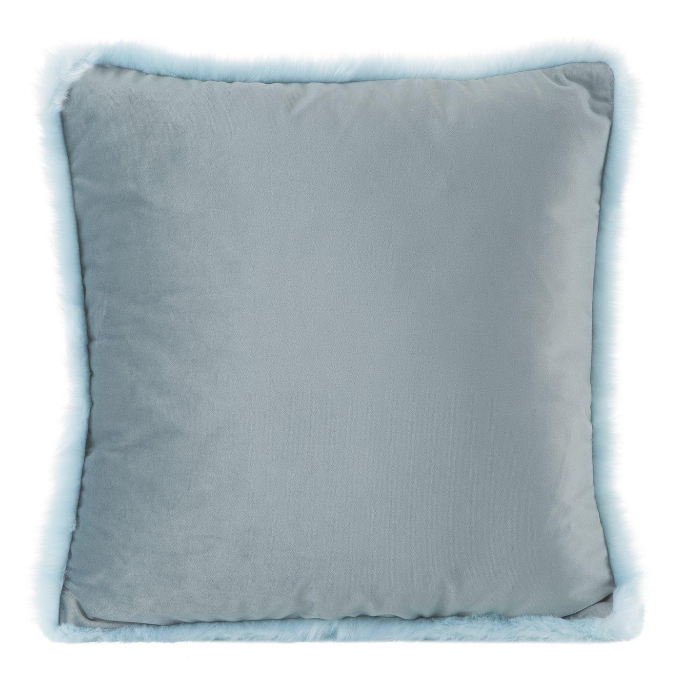 Poszewka na poduszkę 45 x 45 cm niebieska z futerkowym obszyciem