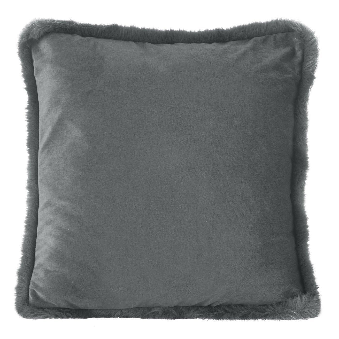Poszewka na poduszkę 45 x 45 cm szara z futerkowym obszyciem