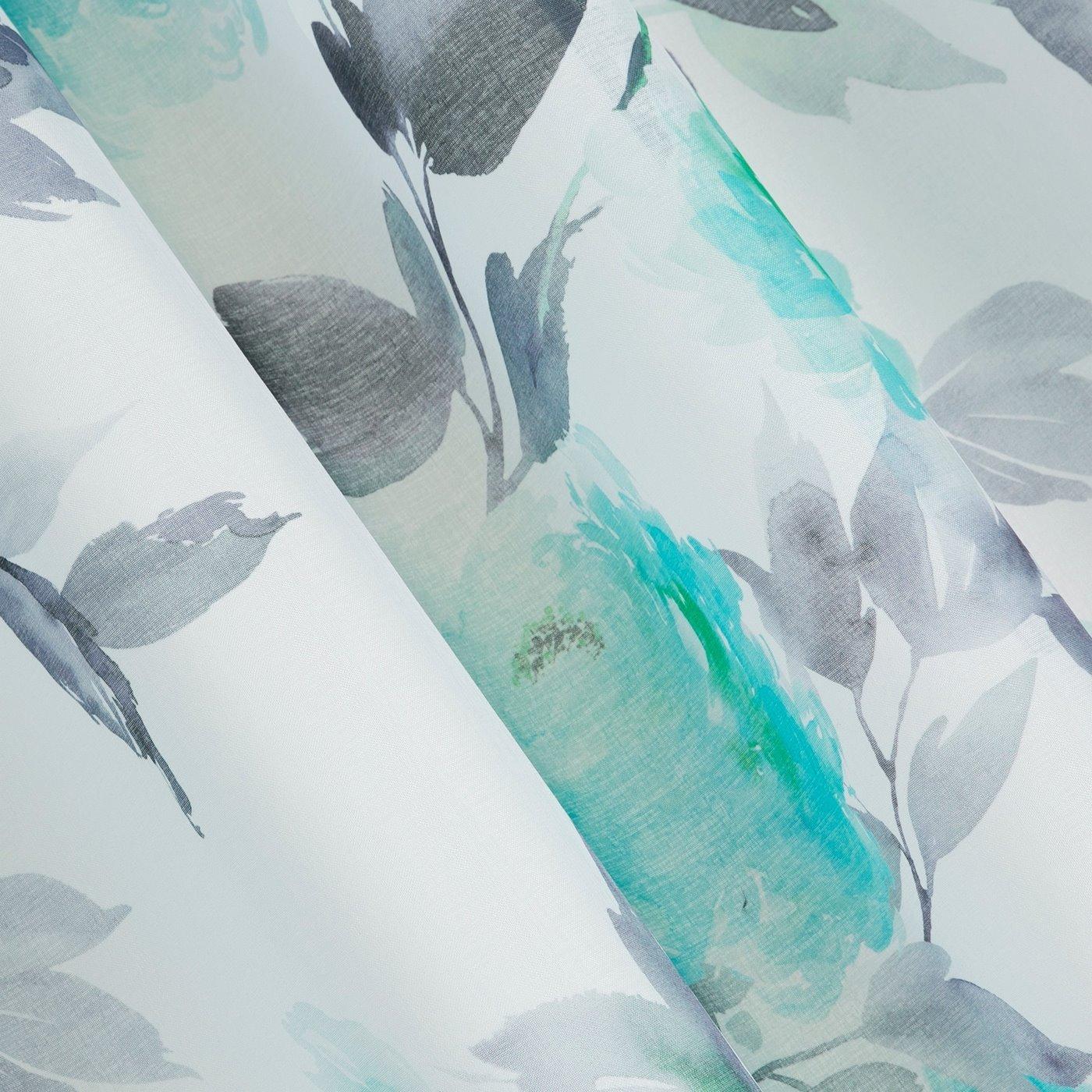 Zasłona w kwiaty na przelotkach 140 x 250 cm kwiaty turkusowo biała