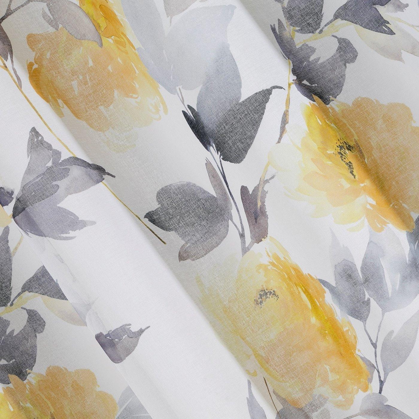 Zasłona w kwiaty na przelotkach 140 x 250 cm kwiaty żółto biała