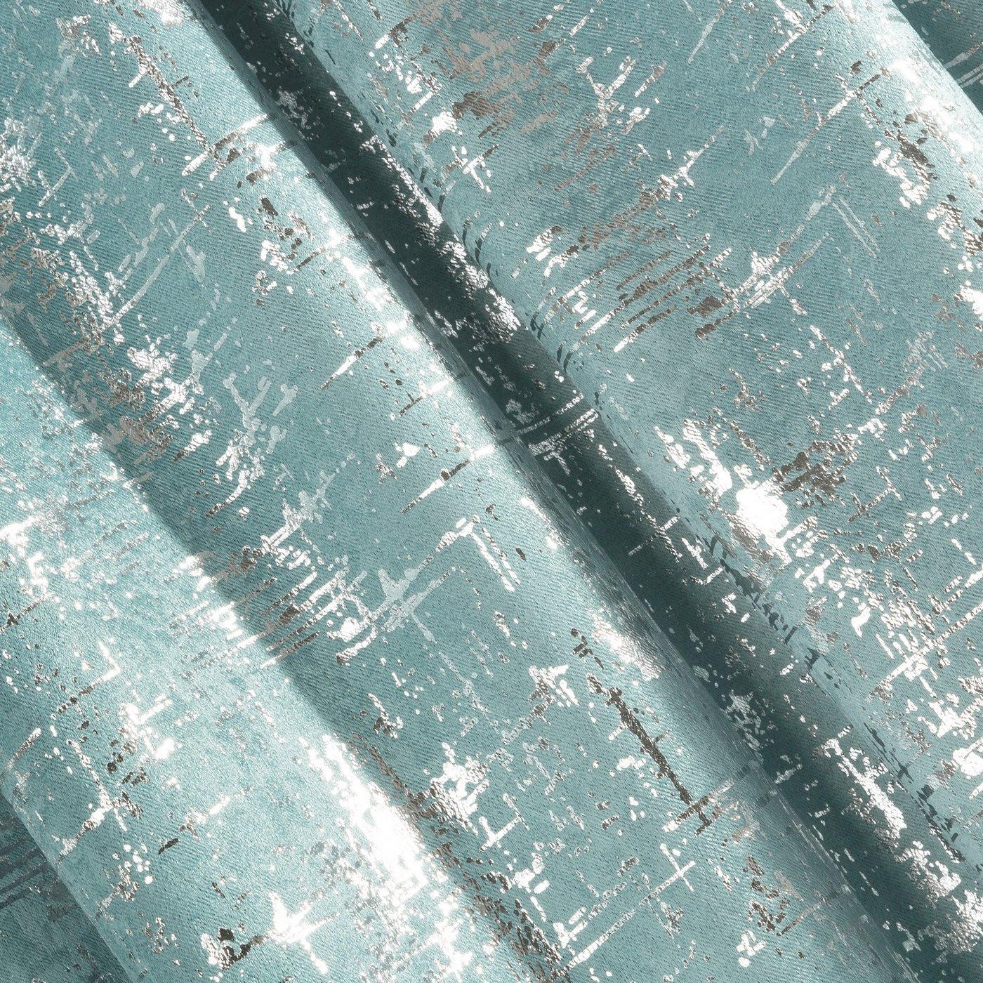 Miętowa ZASŁONA ZACIEMNIAJĄCA ESIN velvet srebrny nadruk 140x270 cm