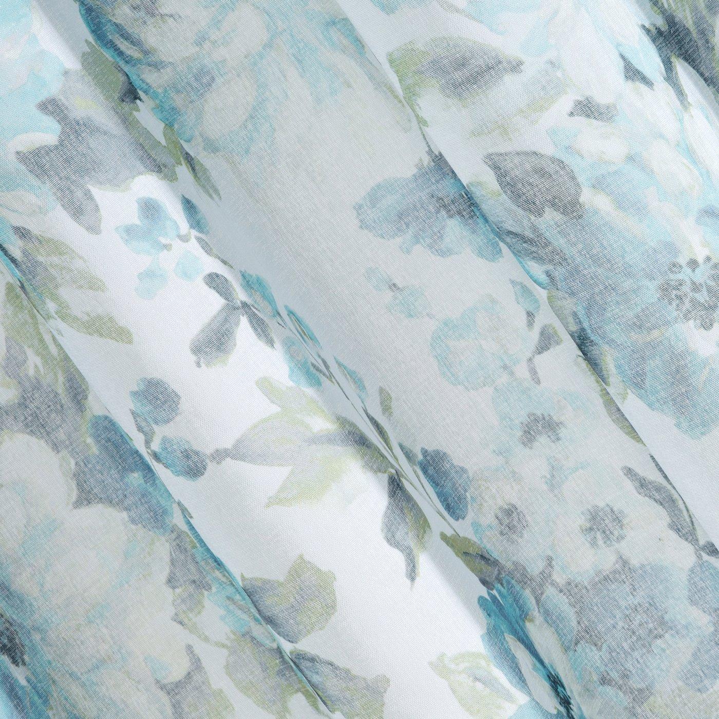 Biała zasłona kwiatowy turkusowy wzór 140x250 na przelotkach