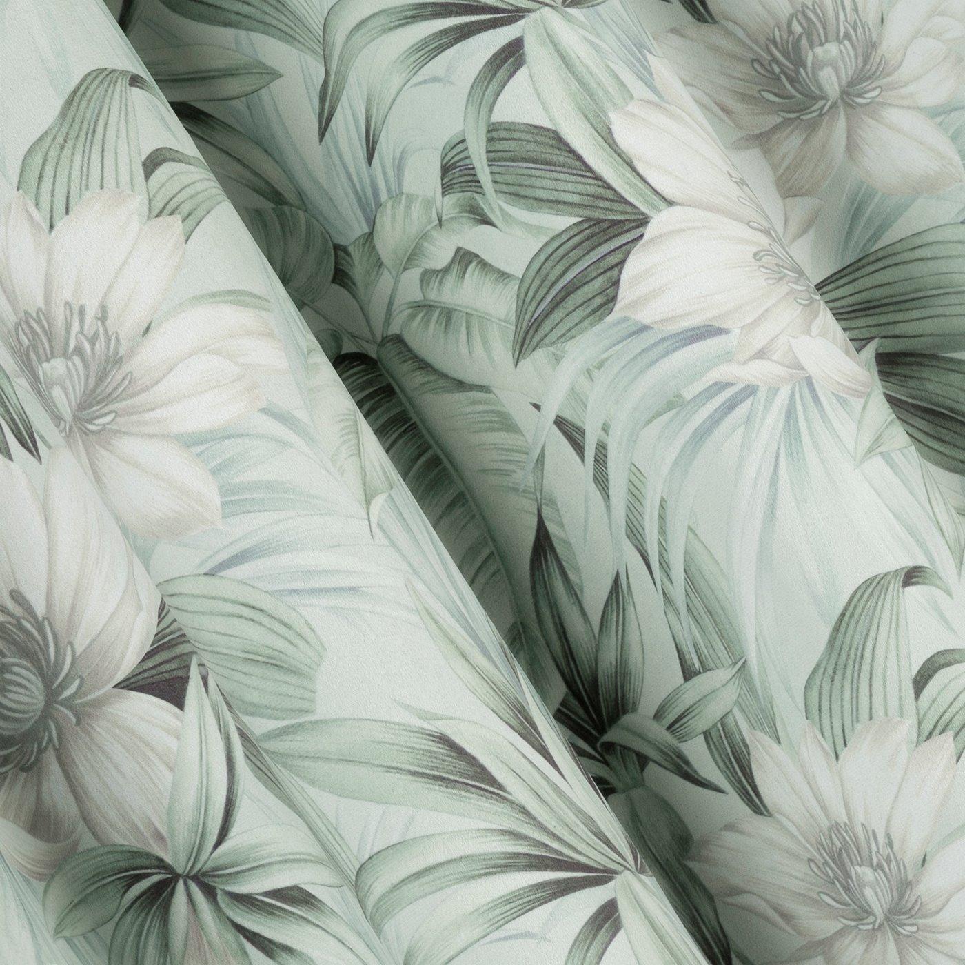 Zasłona welwetowa z roślinnym nadrukiem 140x250 cm przelotki