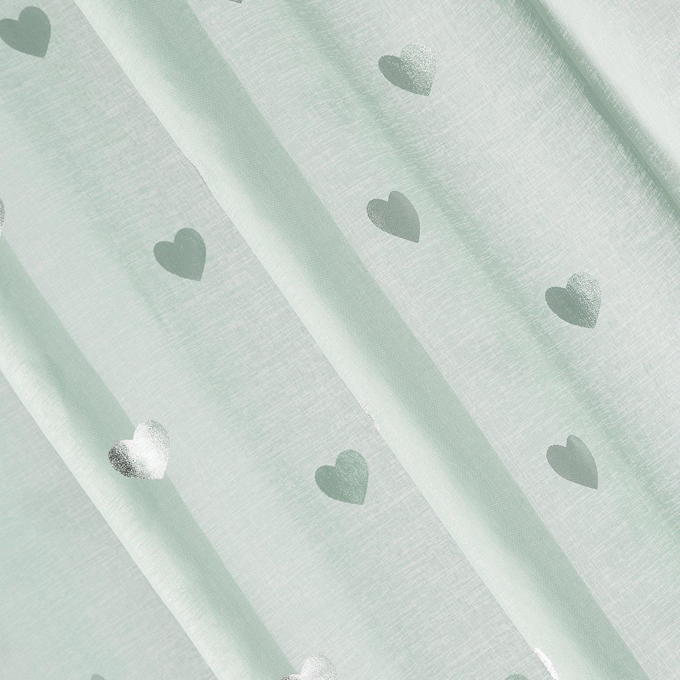Miętowa firana ze srebrnymi sercami na przelotkach 140x250