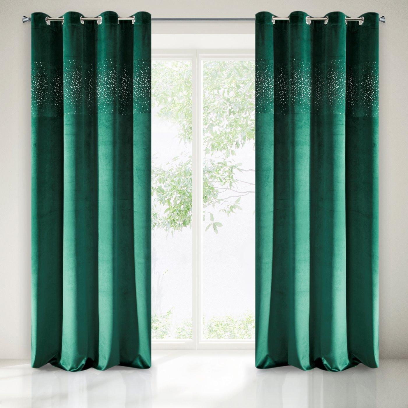 Zasłona welwetowa ciemno zielona z kryształkami 140x250 cm przelotki