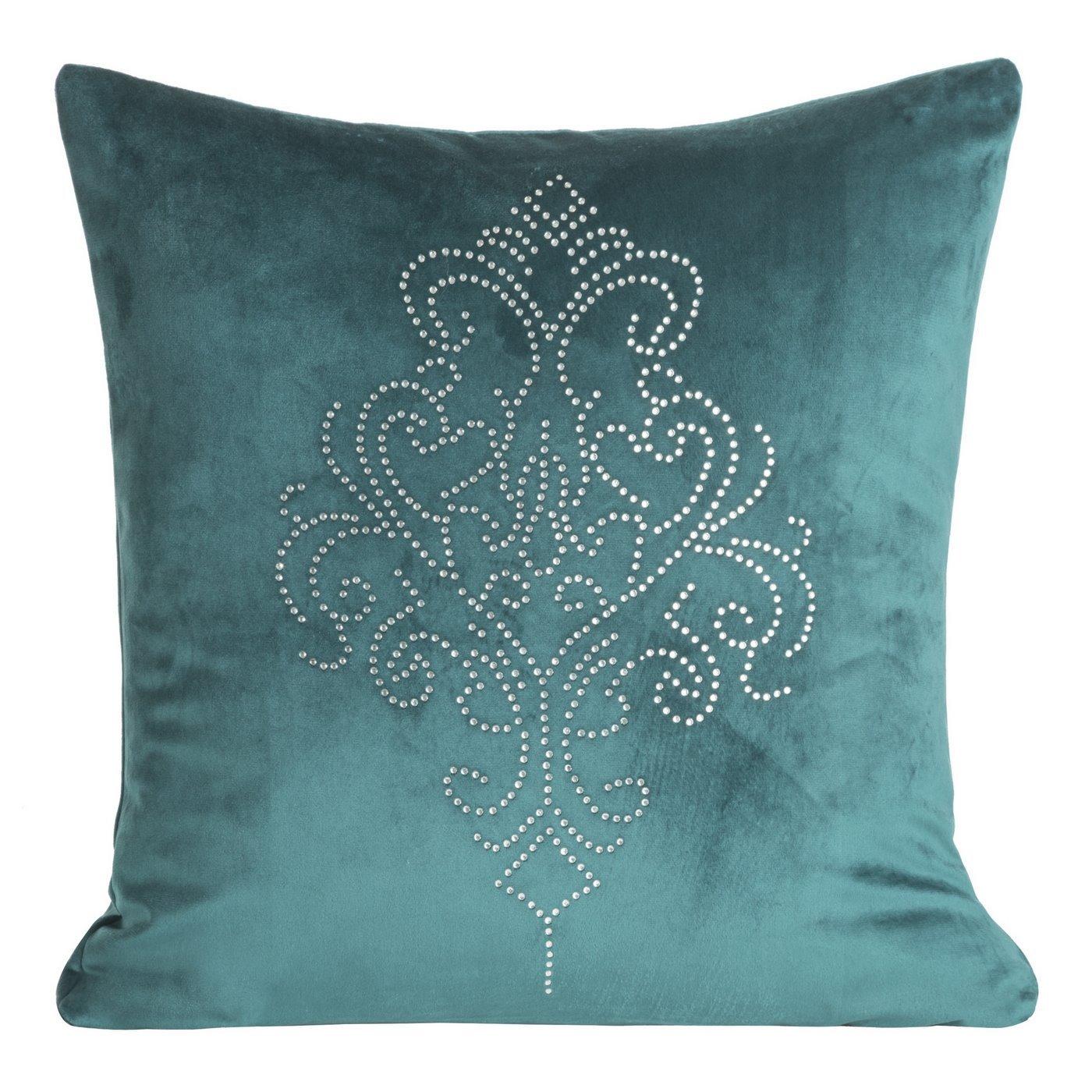 Poszewka na poduszkę 45 x 45 cm z pięknym ornamentowym wzorem z kryształków turkusowa