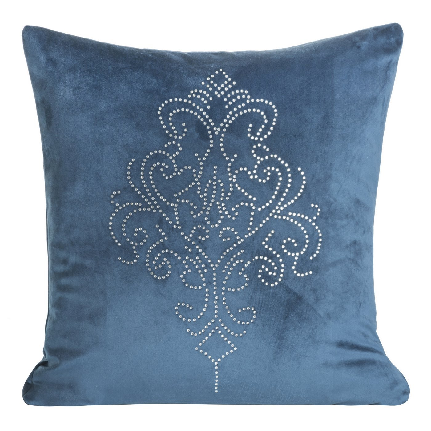Poszewka na poduszkę 45 x 45 cm z pięknym ornamentowym wzorem z kryształków granatowa