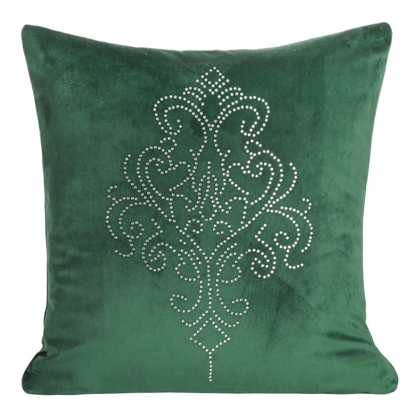 Poszewka na poduszkę 45 x 45 cm z pięknym ornamentowym wzorem z kryształków zielona