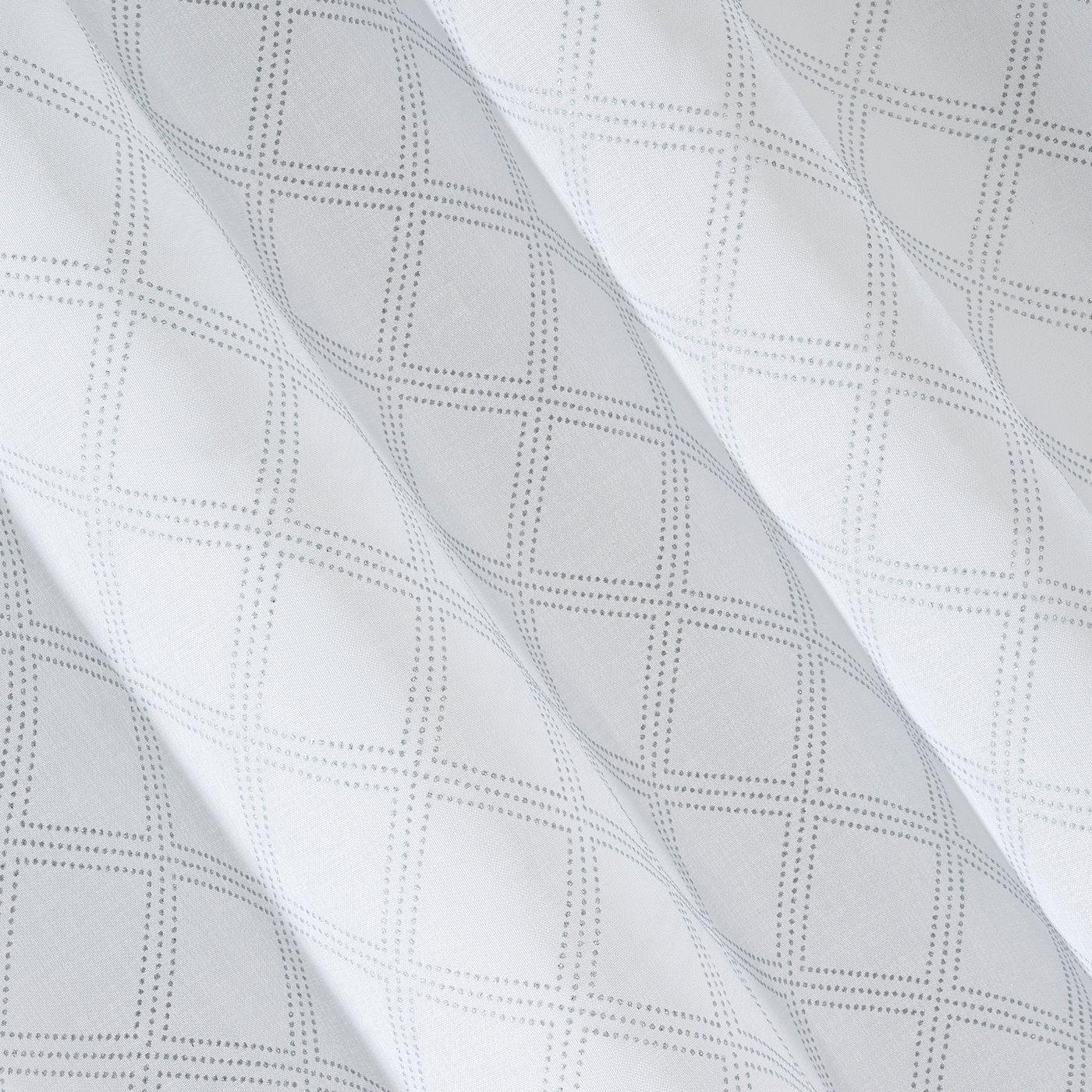 Firana gotowa na przelotkach 140 x 250 cm biało srebrna geometryczny wzór