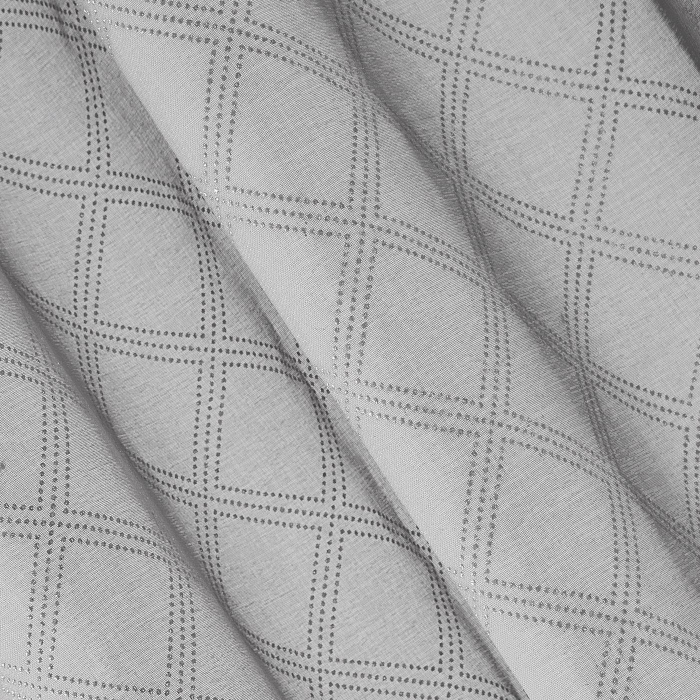 Firana gotowa na przelotkach 140 x 250 cm szaro srebrna geometryczny wzór