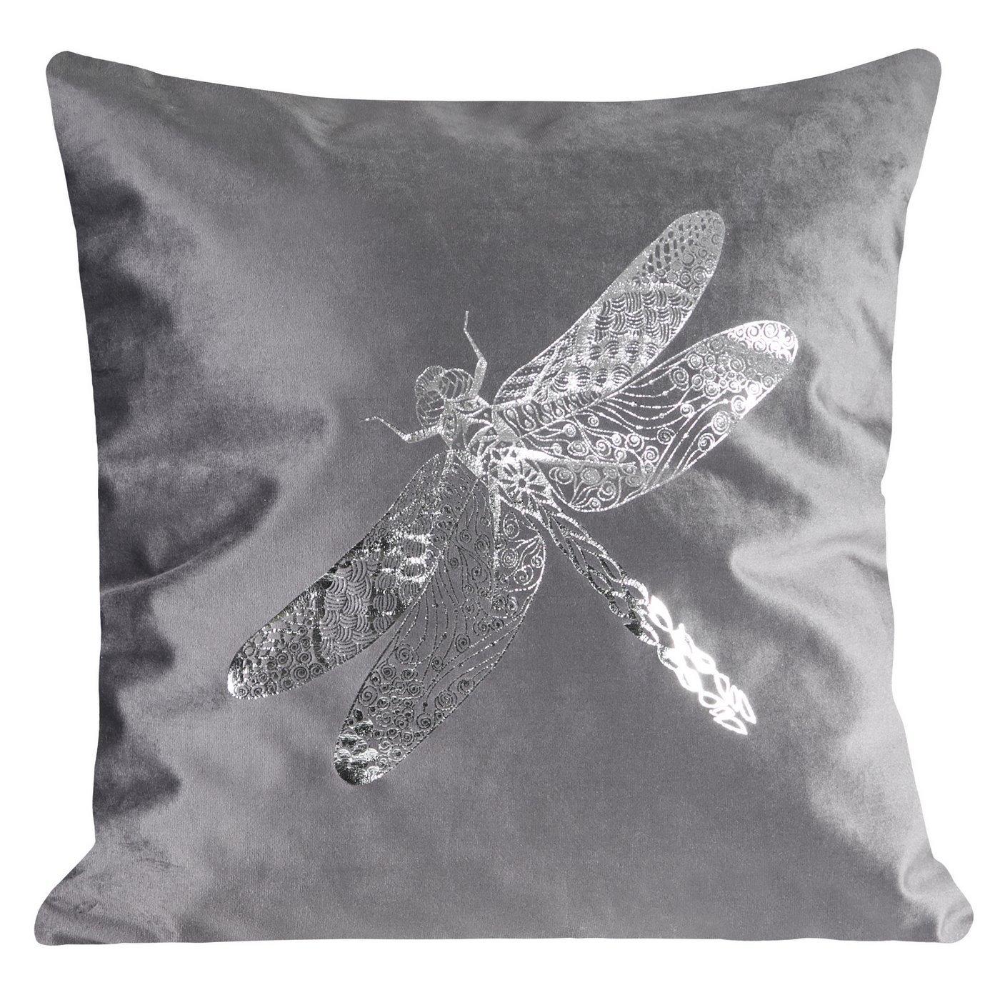 Poszewka na poduszkę szara ze srebrną ważką 45 x 45 cm