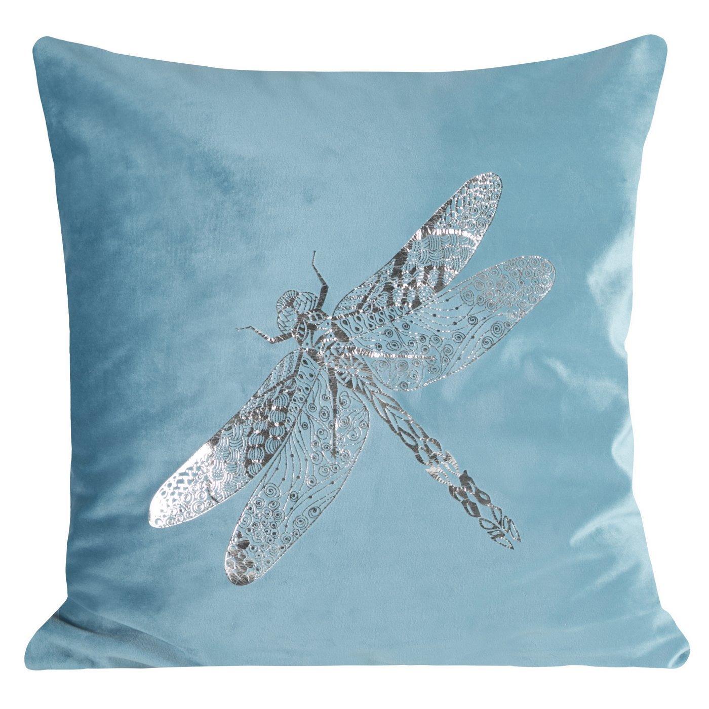 Poszewka na poduszkę turkusowa ze srebrną ważką 45 x 45 cm