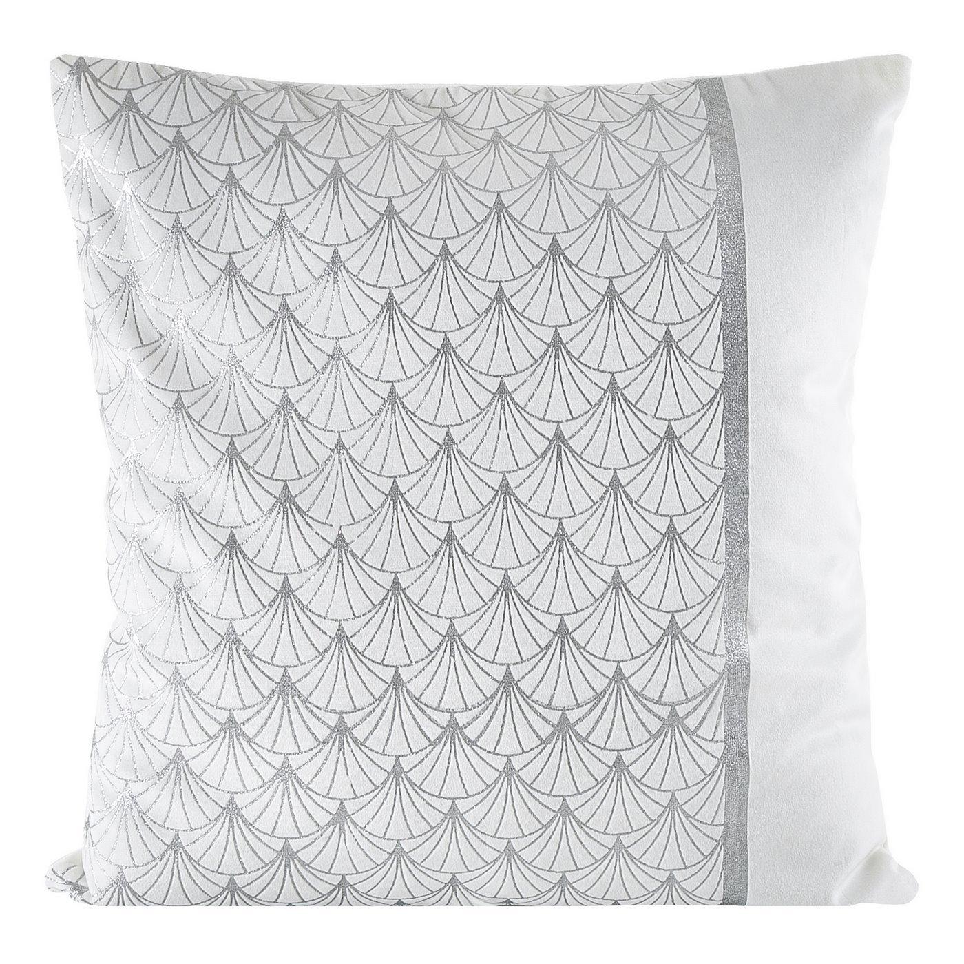 Poszewka dekoracyjna na poduszkę  45 x 45 Kolor Biały/Srebrny