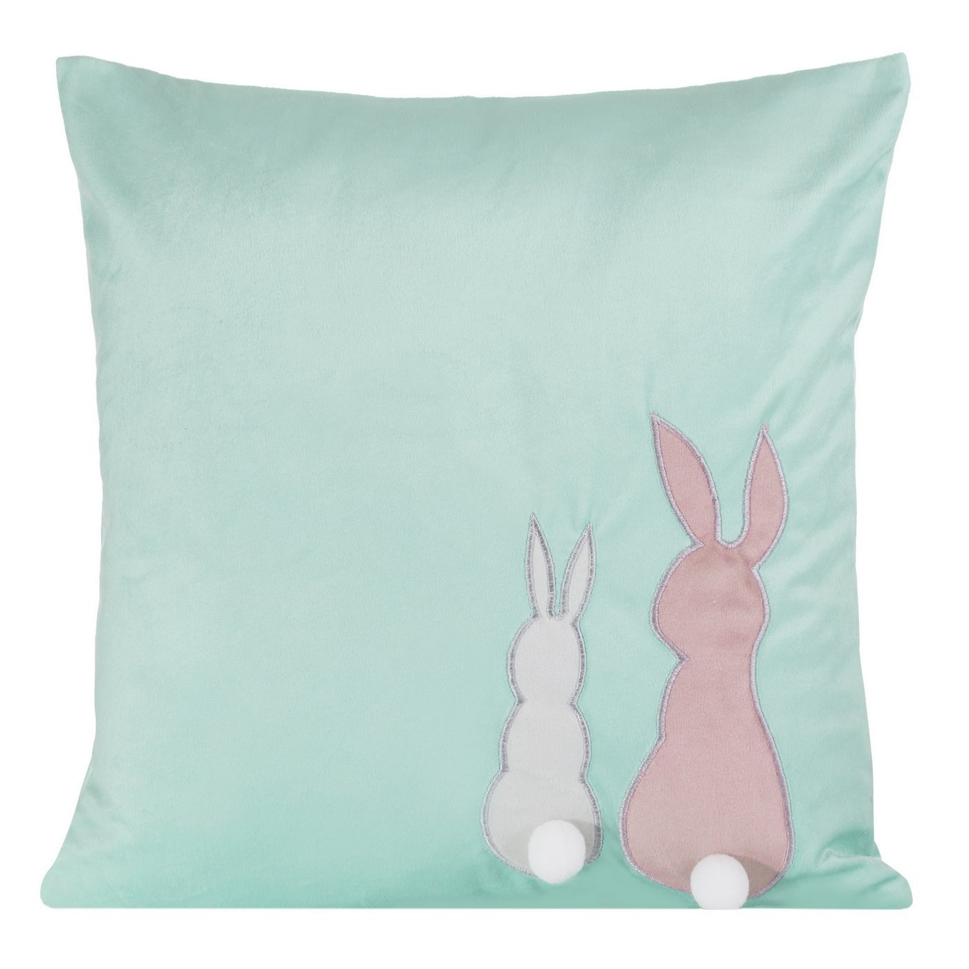 Poszewka na poduszkę miętowo-różowa z królikami 40 x 40 cm