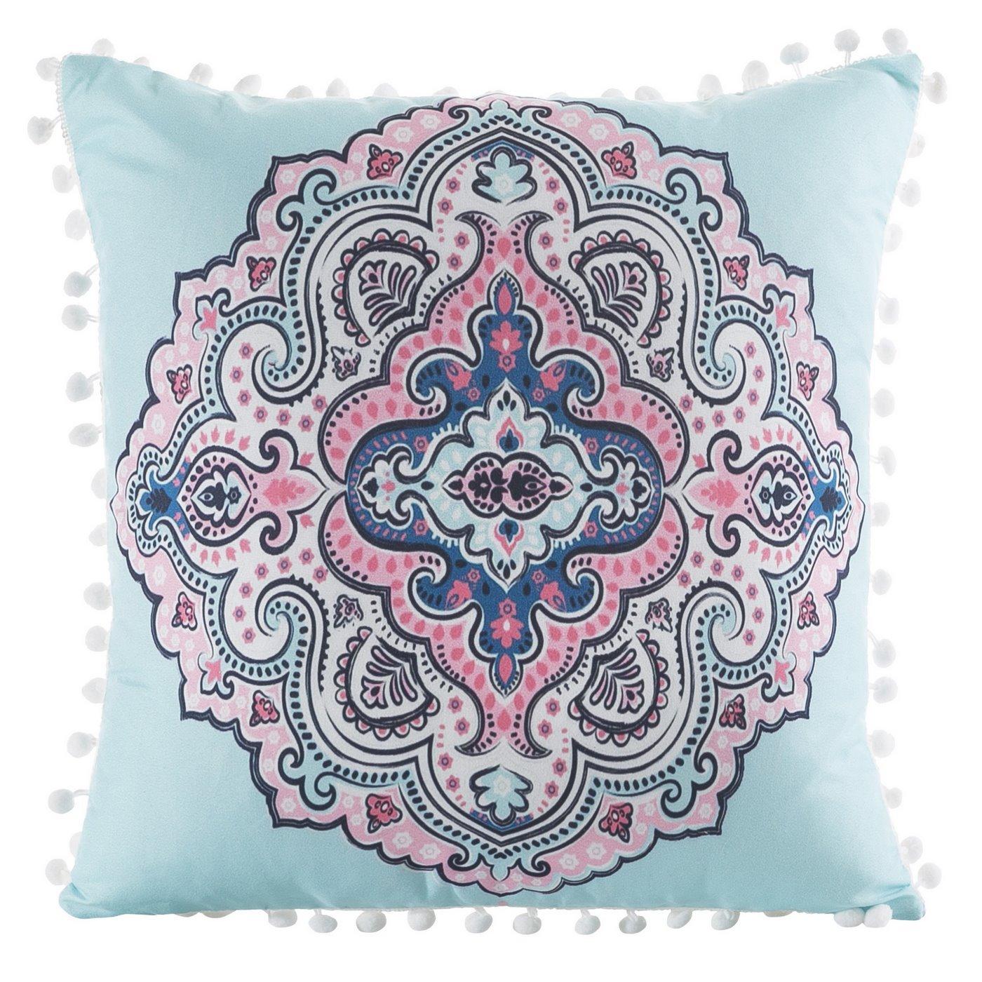 Poszewka na poduszkę orientalny wzór niebiesko różowa 40 x 40 cm