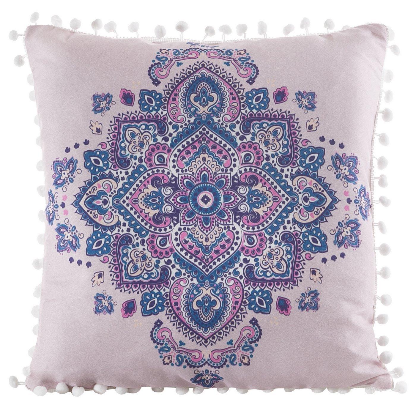 Poszewka na poduszkę orientalny wzór różowo niebieska 40 x 40 cm