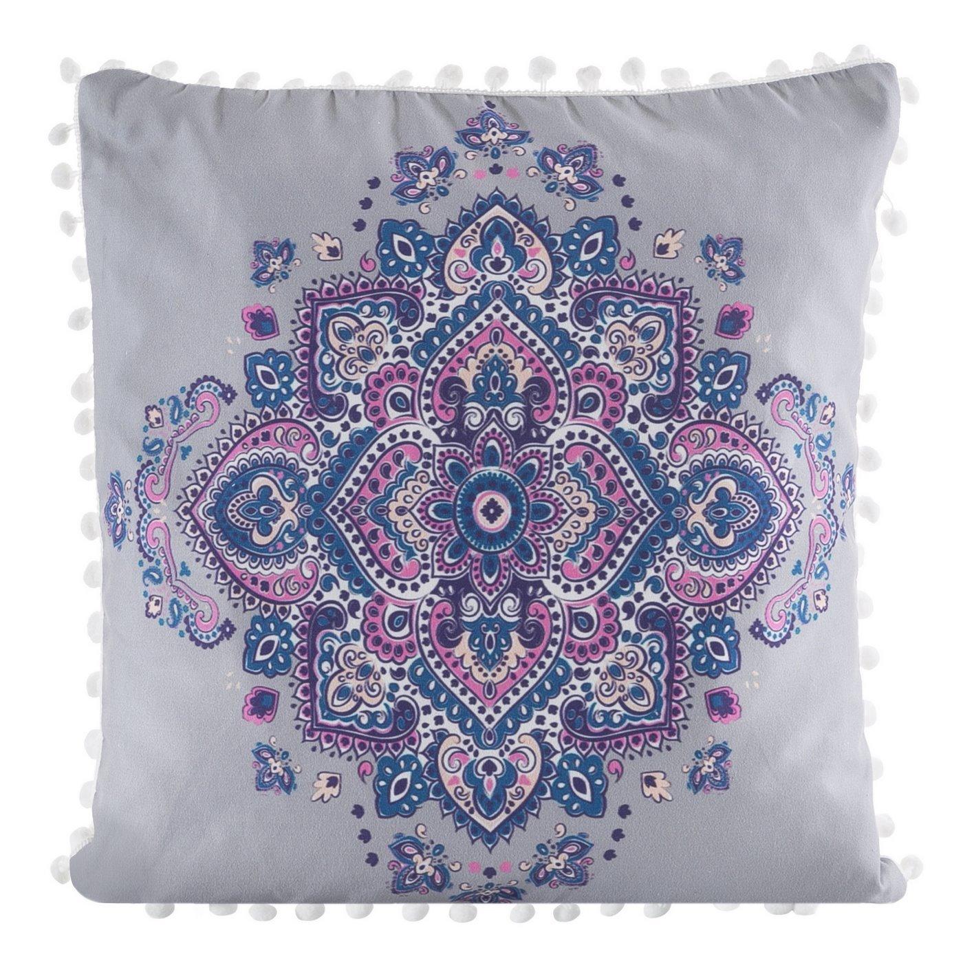 Poszewka na poduszkę orientalny wzór srebrno różowa 40 x 40 cm