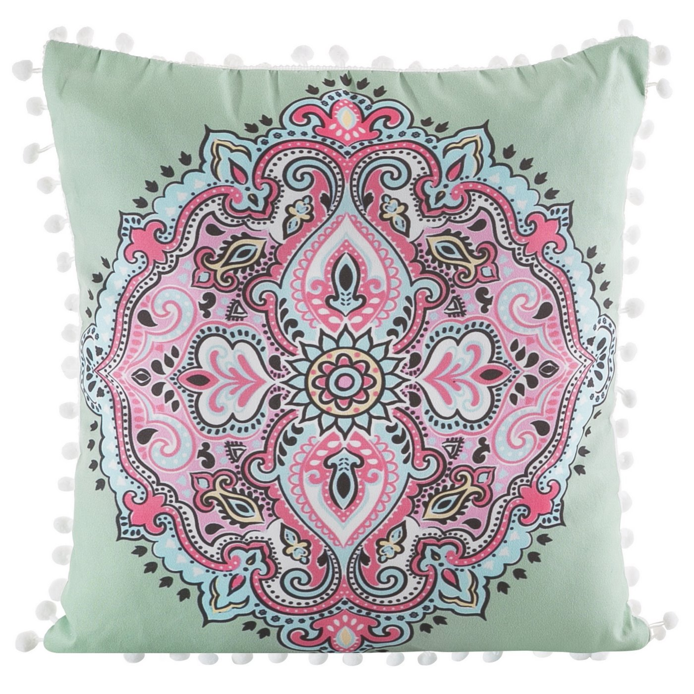 Poszewka na poduszkę orientalny wzór zielono różowa 40 x 40 cm