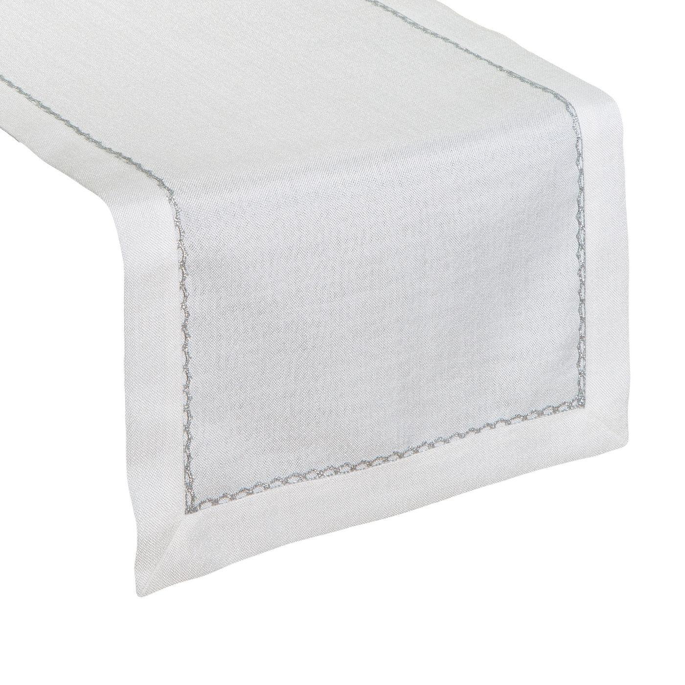 Biały bieżnik do jadalni ze srebrną koronką 40x140 cm