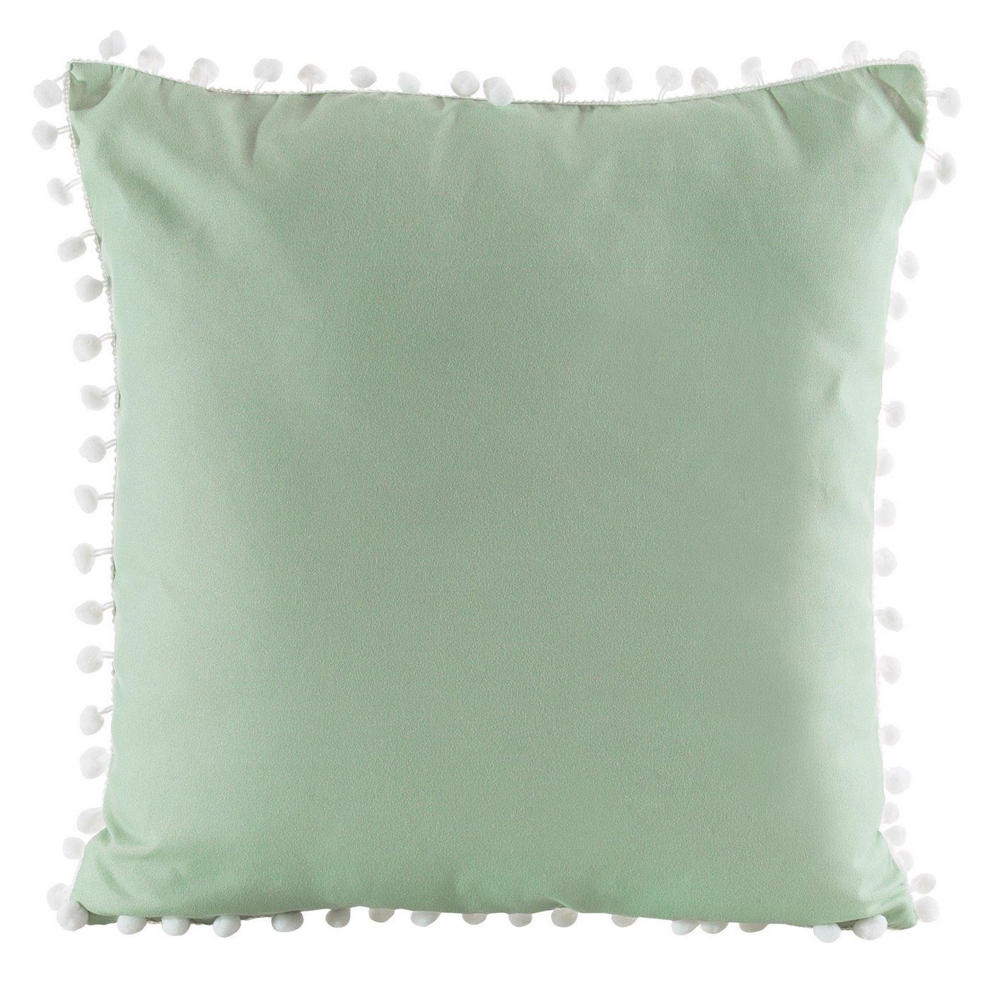 Poszewka na poduszkę gładka zielona z pomponami 40 x 40 cm