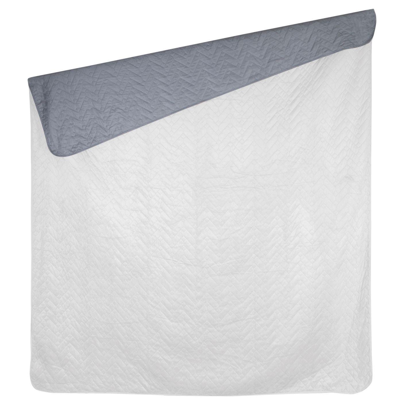 Narzuta welurowa dwustronna termozgrzewana biały+srebrny 220x240cm