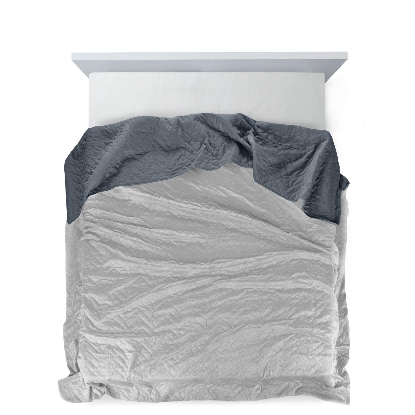 Narzuta welurowa dwustronna termozgrzewana stalowy+srebrny 220x240cm