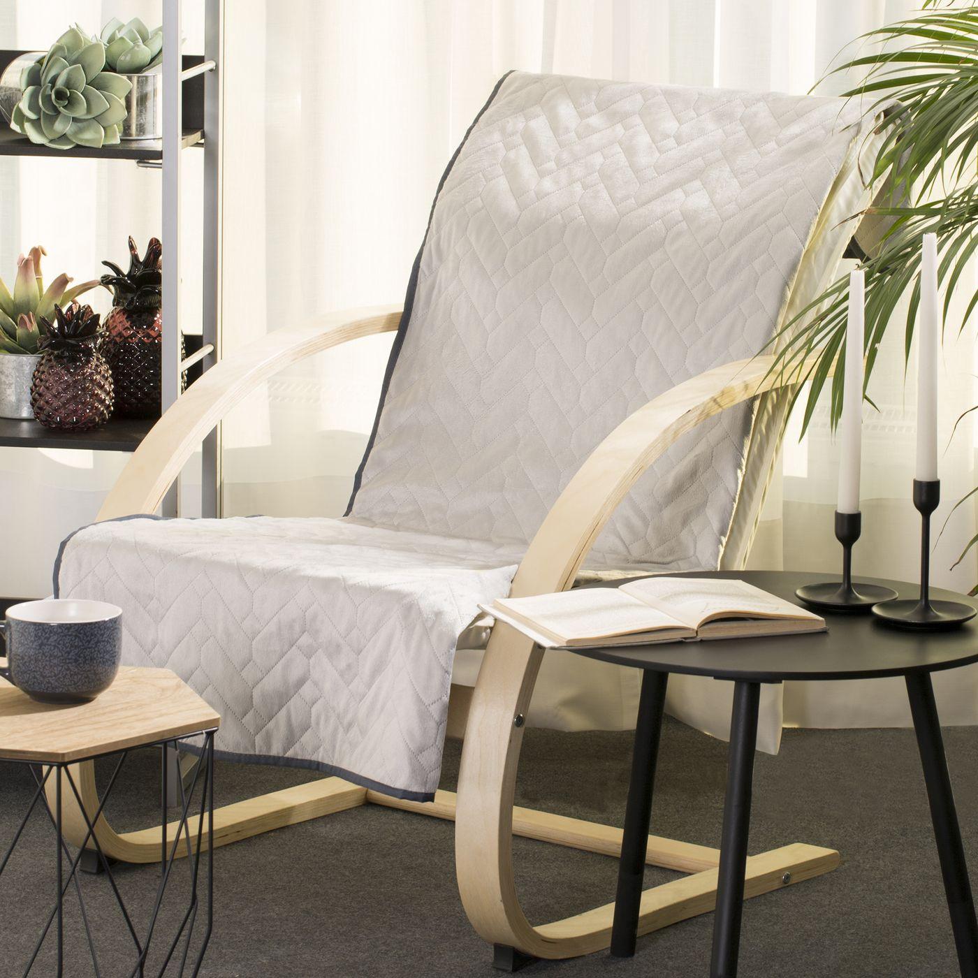 Narzuta welurowa dwustronna na fotel termozgrzewana stalowy+srebrny 70x160 cm