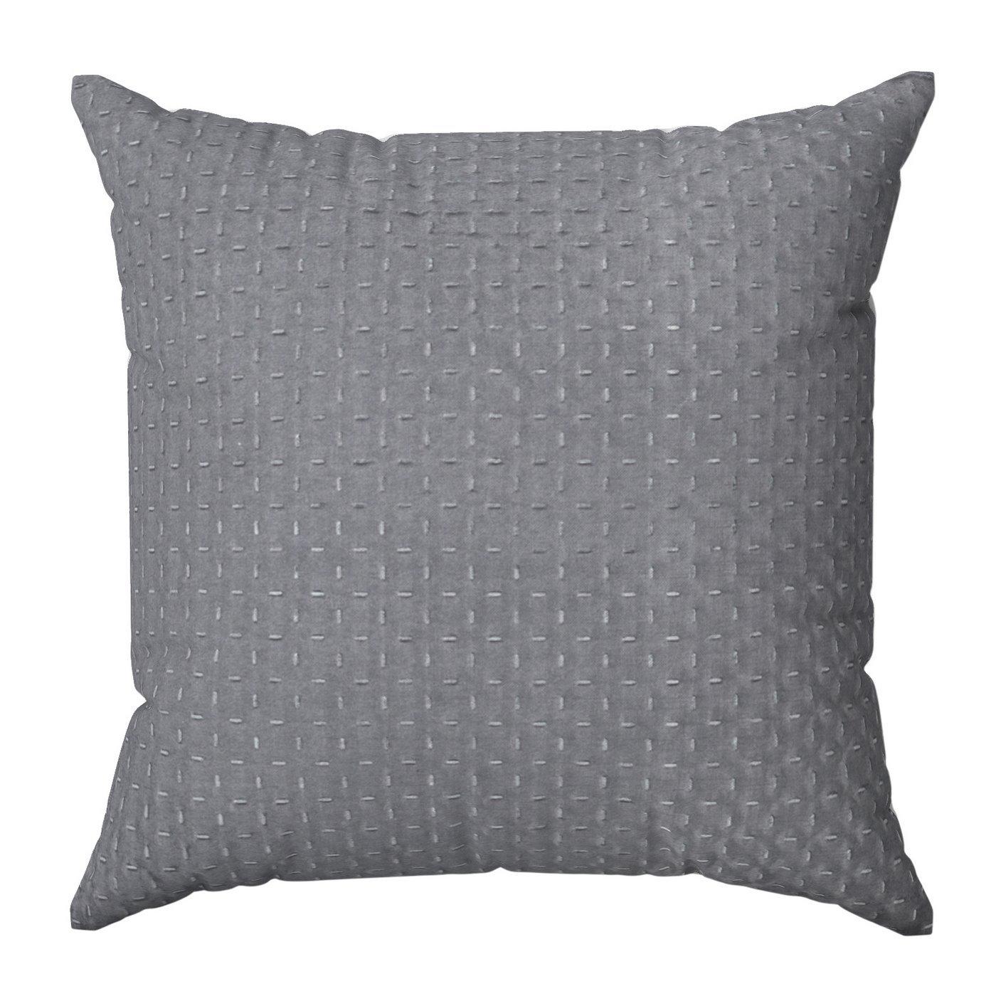 Poszewka na poduszkę dwustronna pikowana szaro-różowa 40 x 40 cm