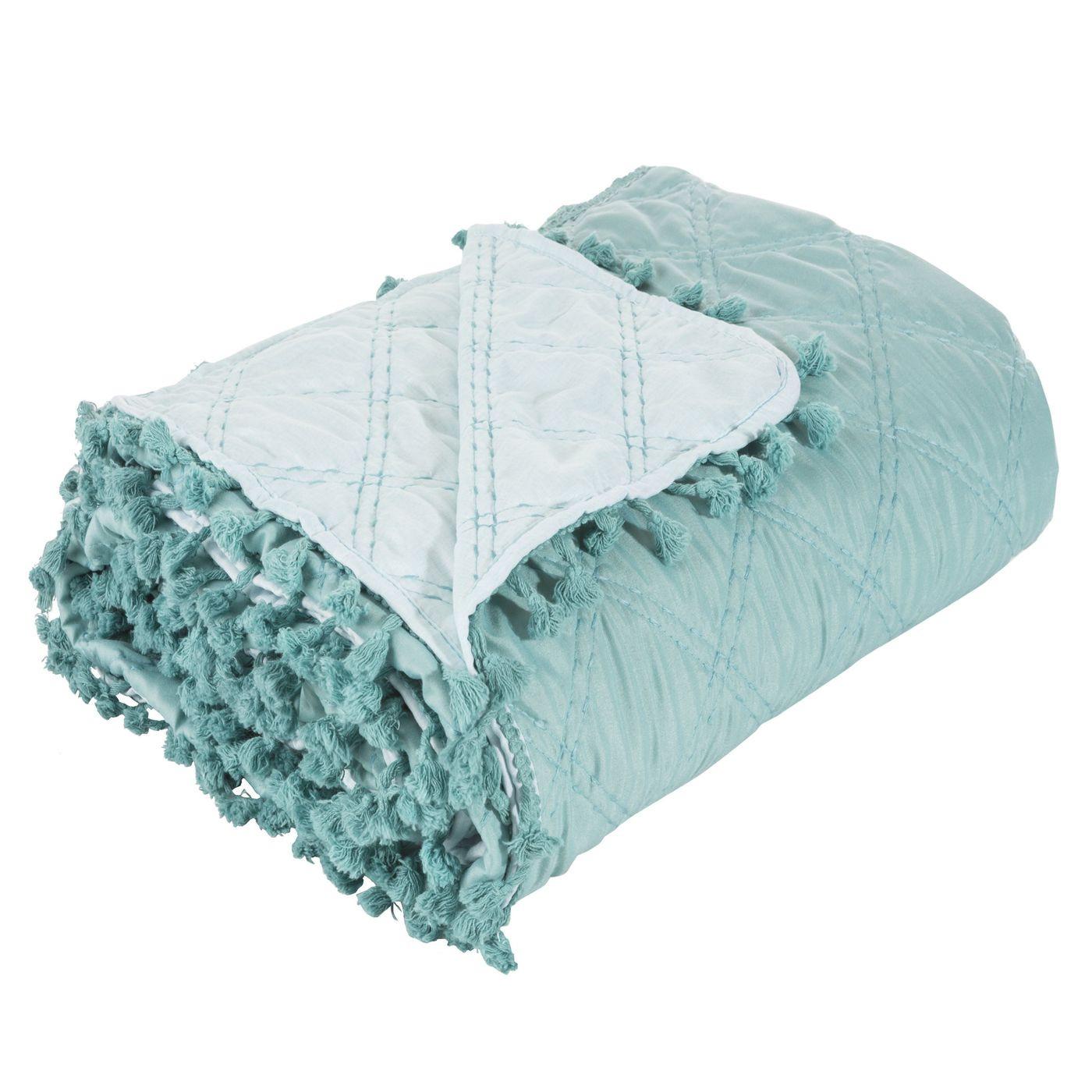 Narzuta na łóżko przeszywana dwustronna 170x210 cm miętowo-srebrna