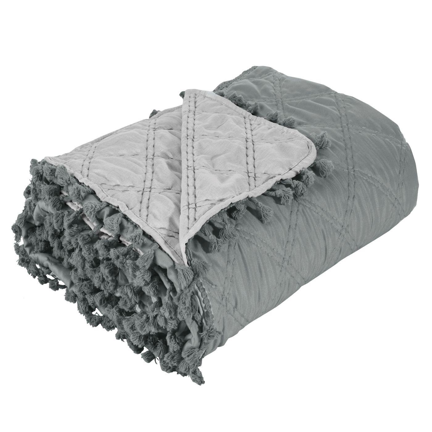 Narzuta na łóżko przeszywana dwustronna 170x210 cm stalowo-srebrny