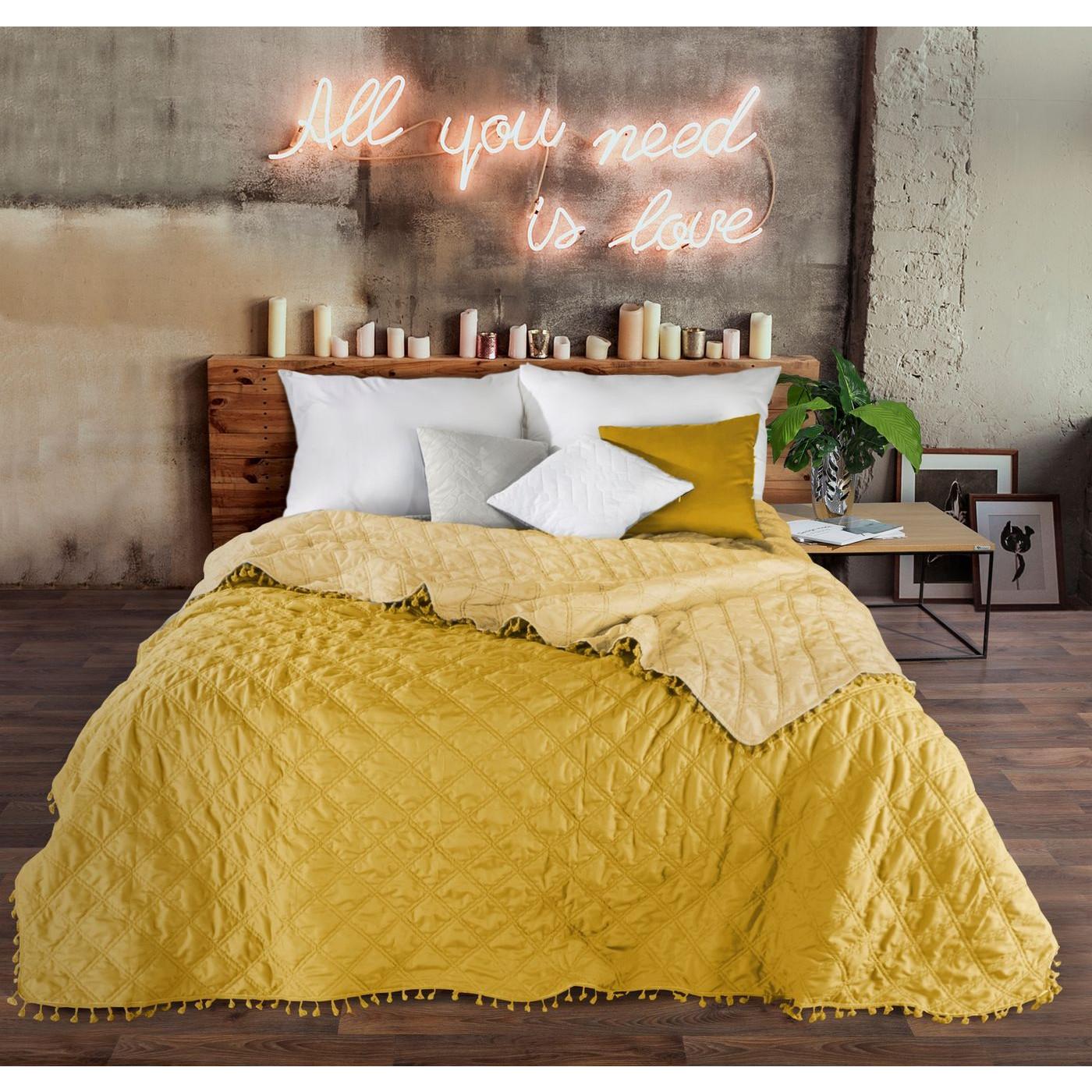 Narzuta na łóżko przeszywana dwustronna 170x210 cm żółta
