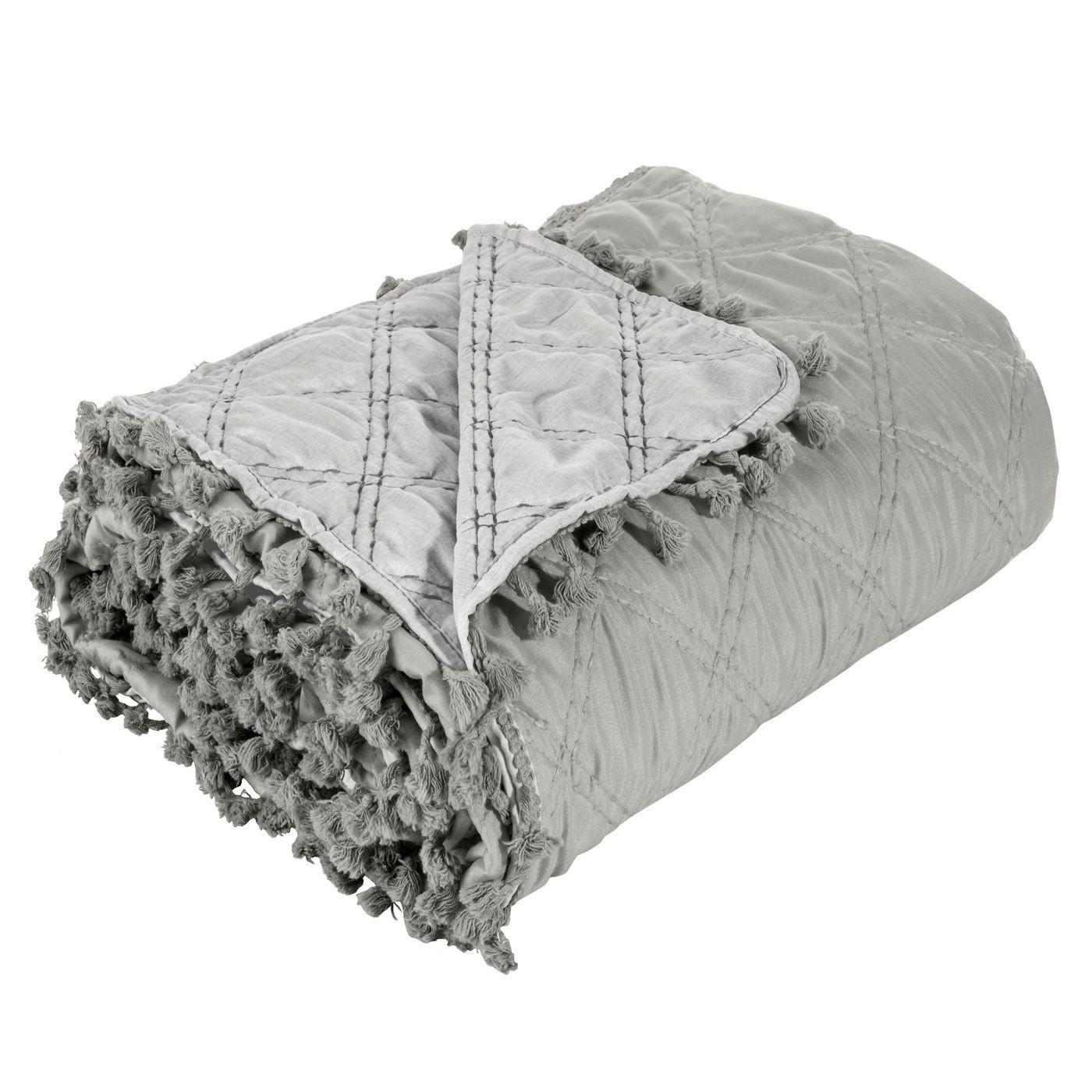 Narzuta na łóżko przeszywana romby 170x210 cm beżowa