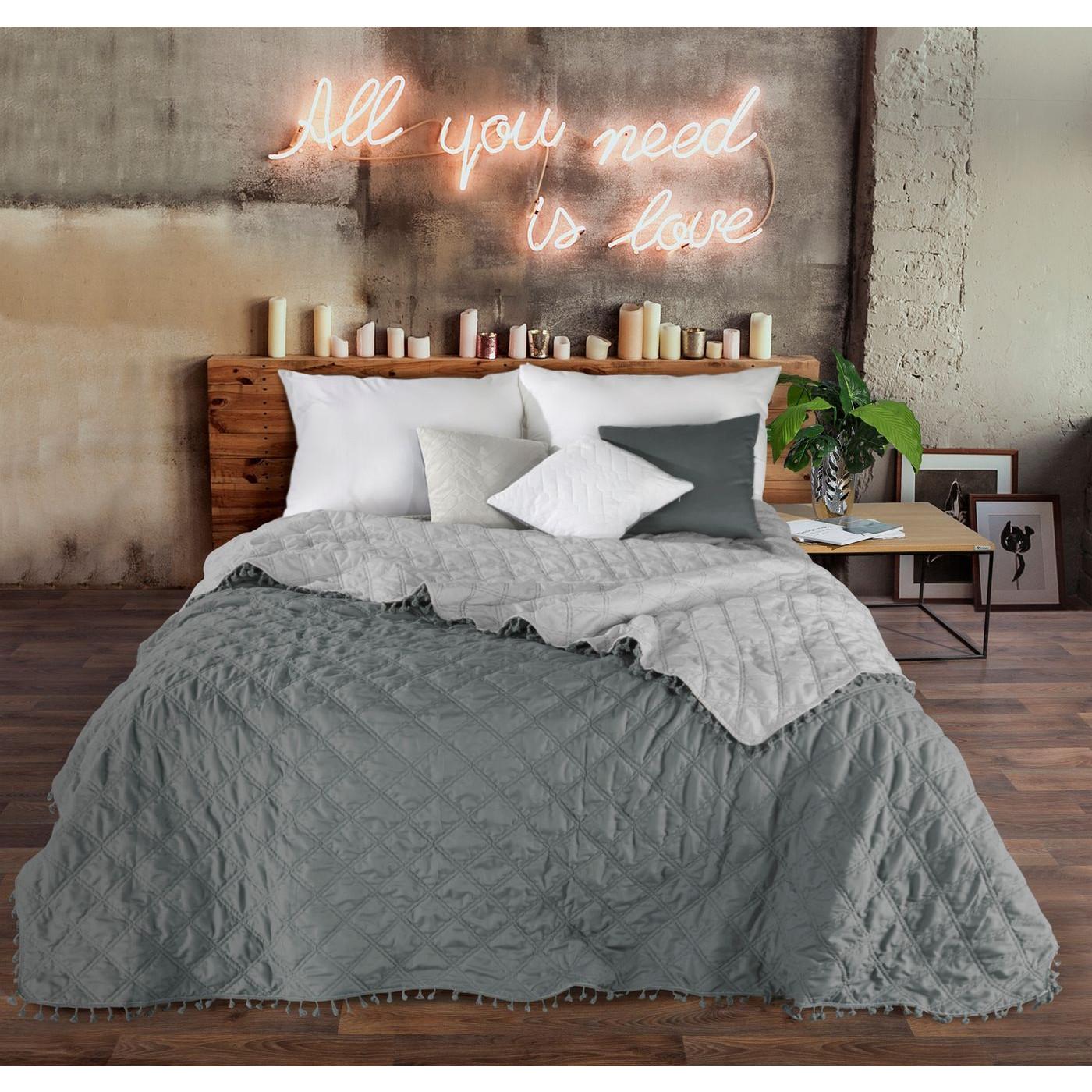 Narzuta na łóżko przeszywana dwustronna 220x240 cm stalowo-srebrny