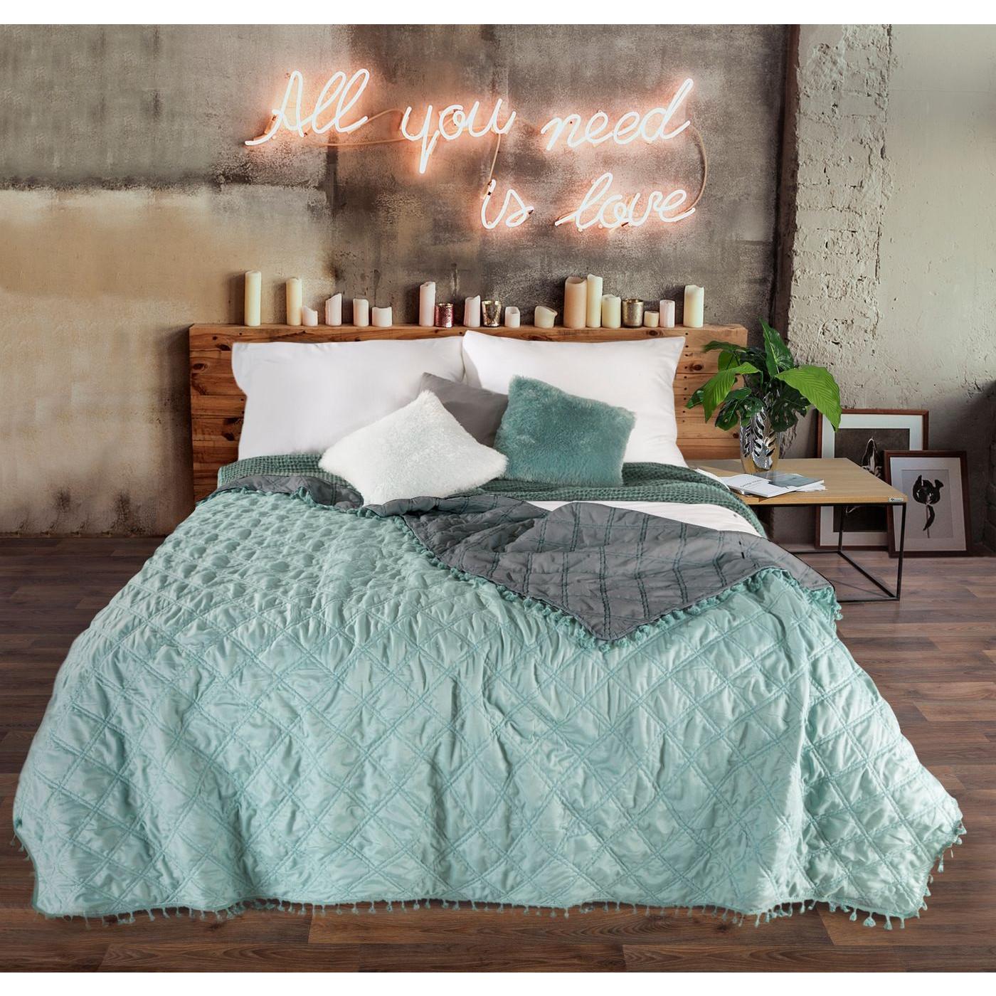 Narzuta na łóżko przeszywana dwustronna 220x240 cm miętowo-stalowa