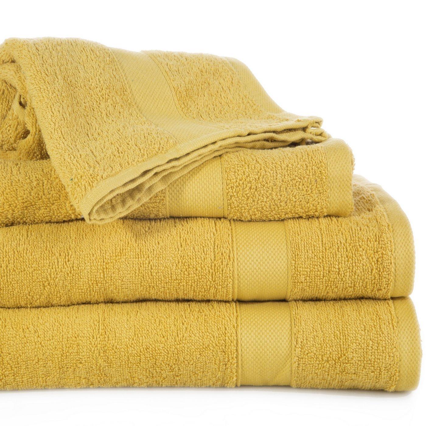 Miękki chłonny ręcznik kąpielowy musztardowy 70x140