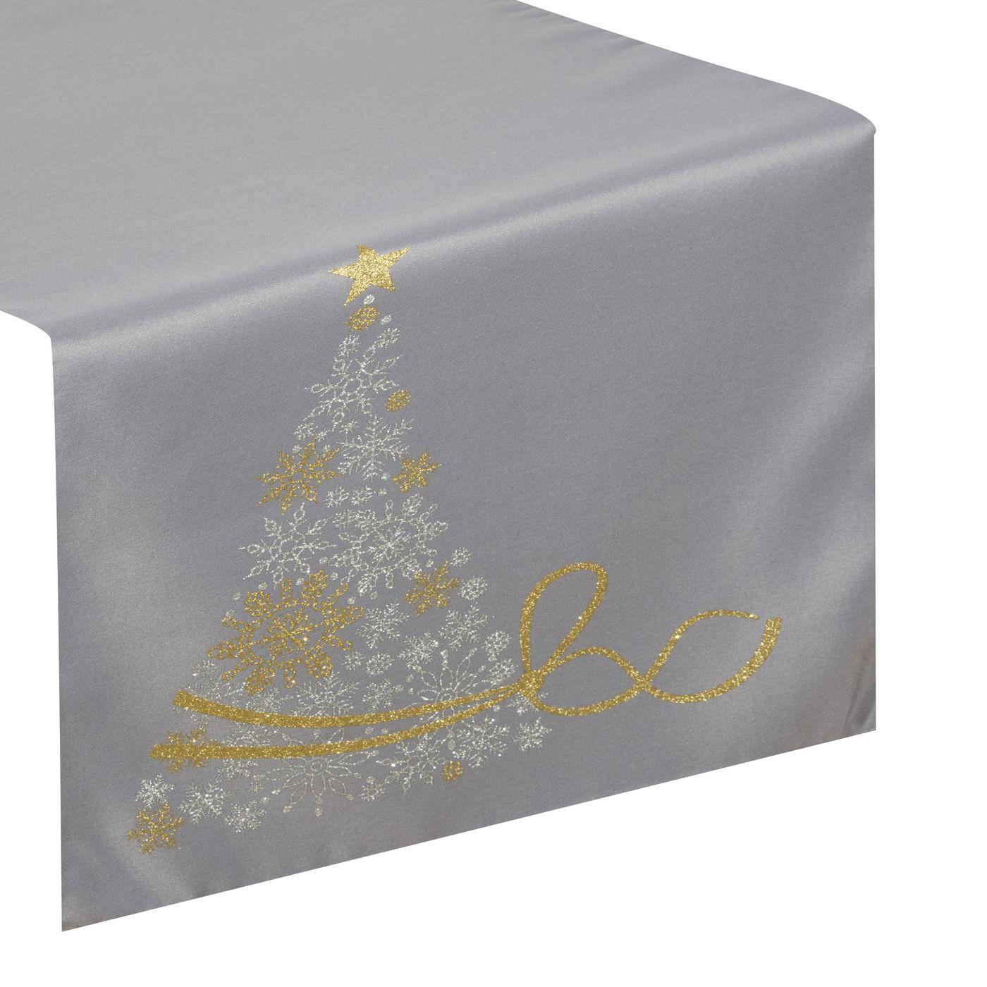 Srebrny bieżnik świąteczny z choinką 40x140 cm