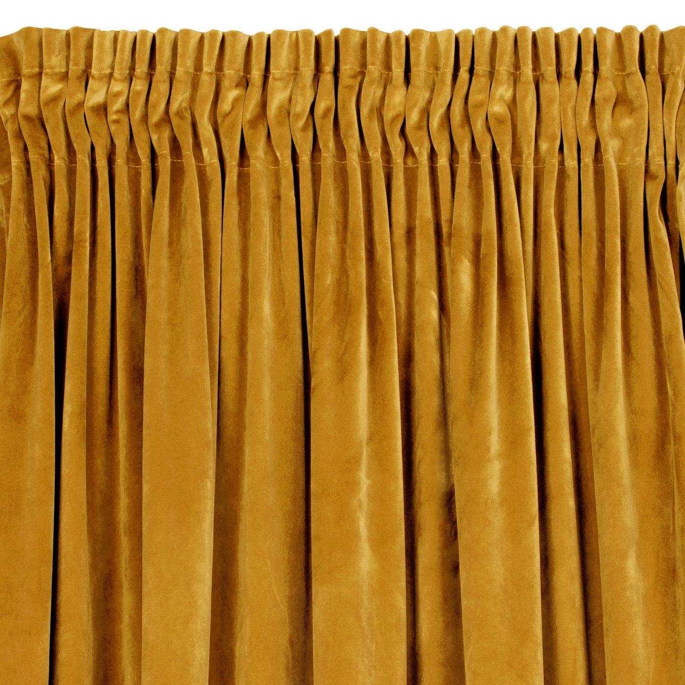 Zasłona welwetowa 140x270 cm na taśmie musztardowa