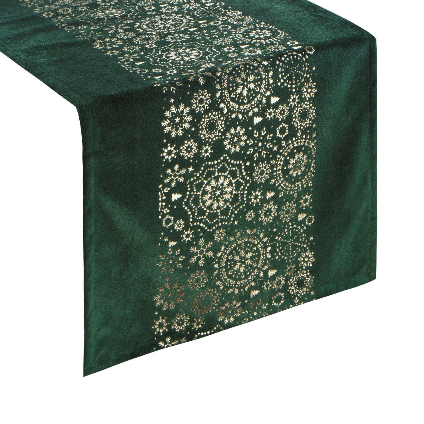 Zielony bieżnik w śnieżynki welwetowy 40x140 cm