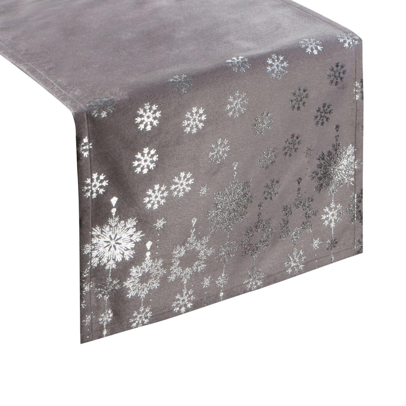 Srebrny bieżnik z nadrukiem gwiazdek 40x140 cm