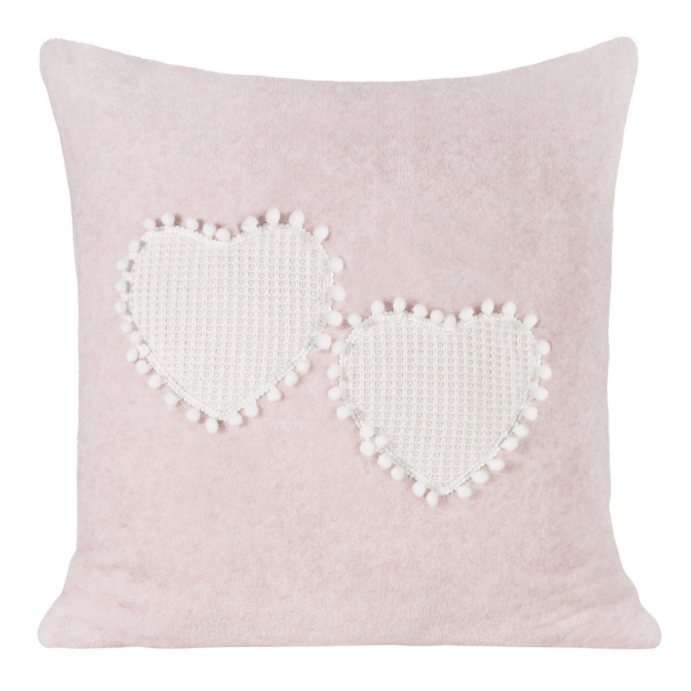 Romantyczna POSZEWKA OZDOBNA w serca z pomponami 45x45 cm