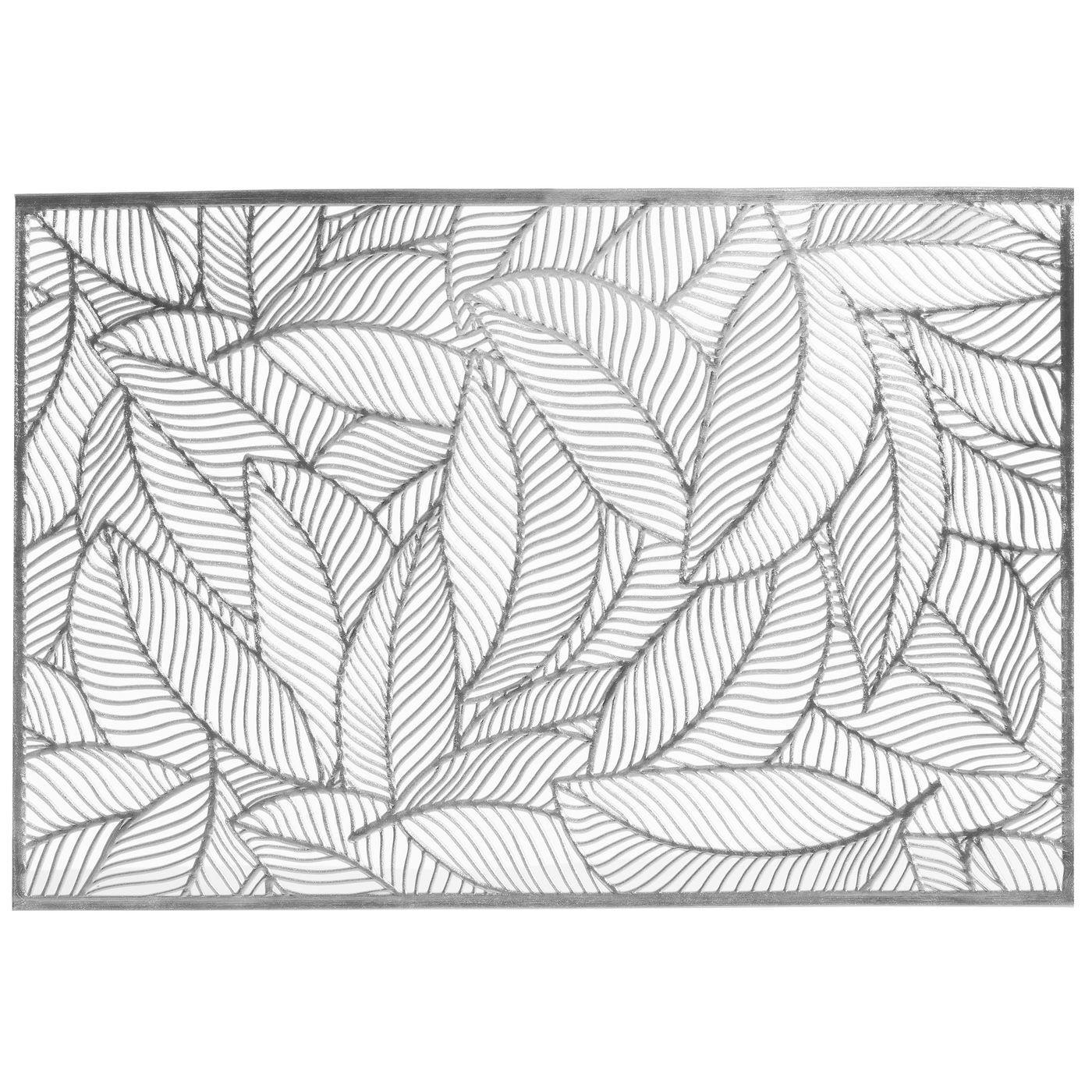 Ażurowa podkładka stołowa srebrne liście palmowe 30x45 cm