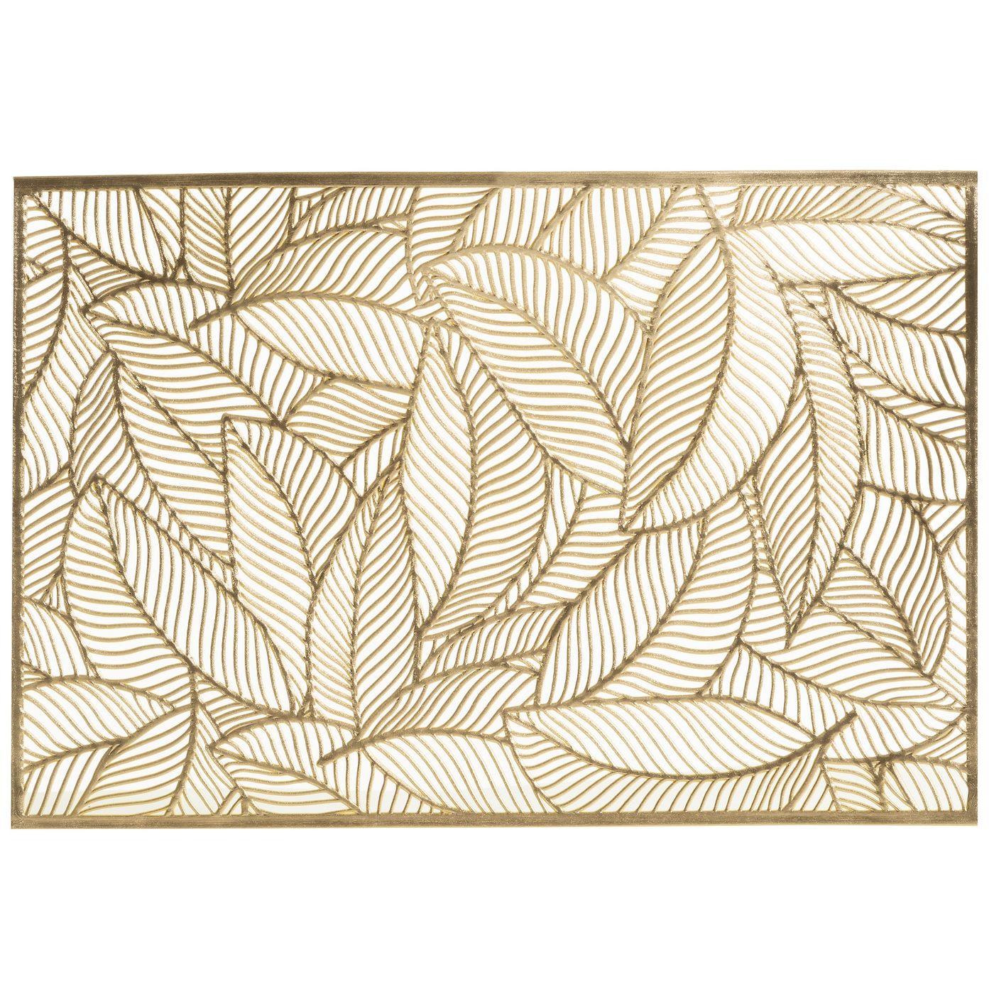 Ażurowa podkładka stołowa złote liście palmowe 30x45 cm