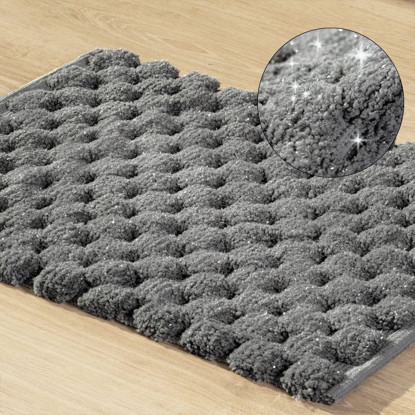 Grafitowy dywanik łazienkowy tłoczony ze srebrną nicią 50x70 cm