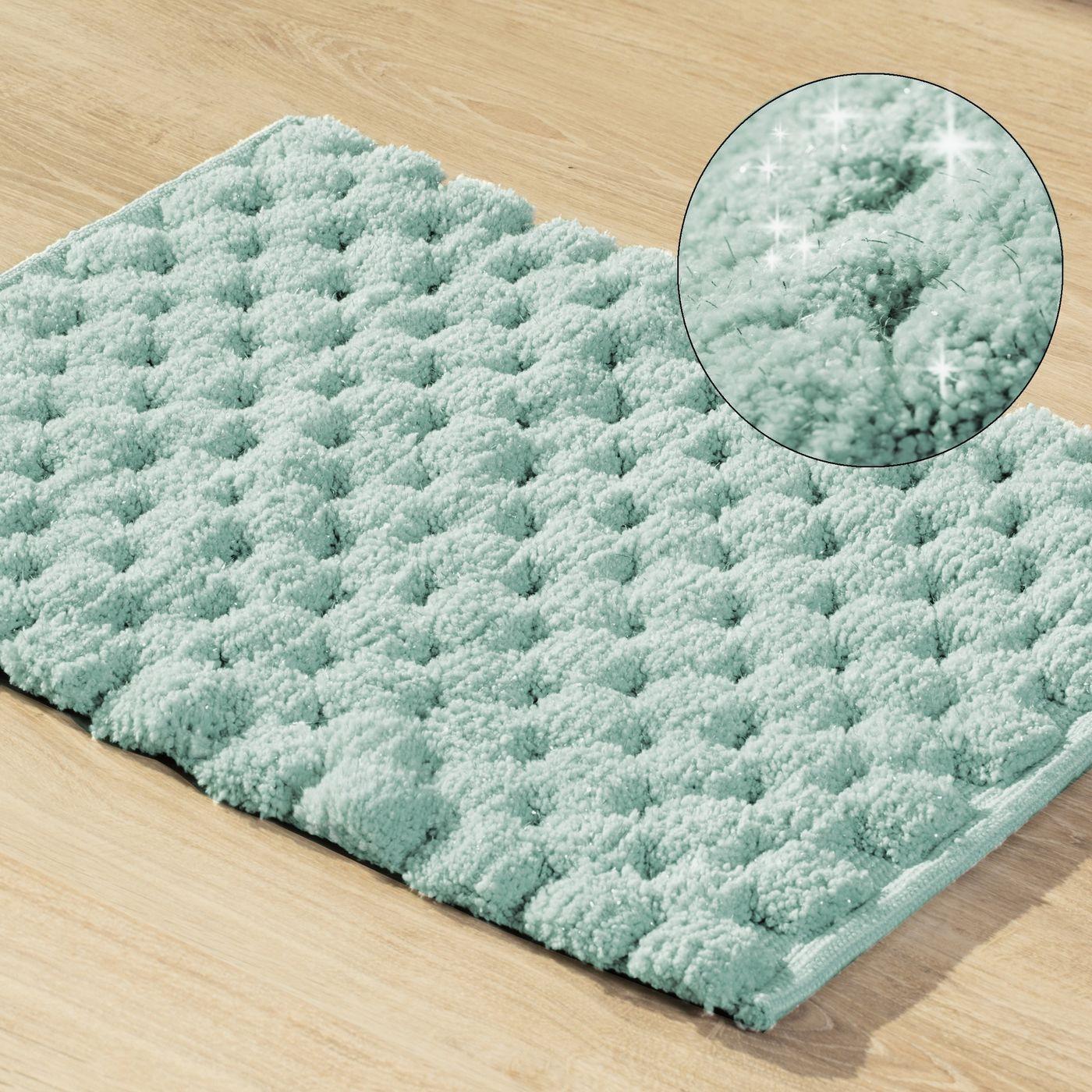 Miętowy dywanik łazienkowy tłoczony ze srebrną nicią 60x90 cm
