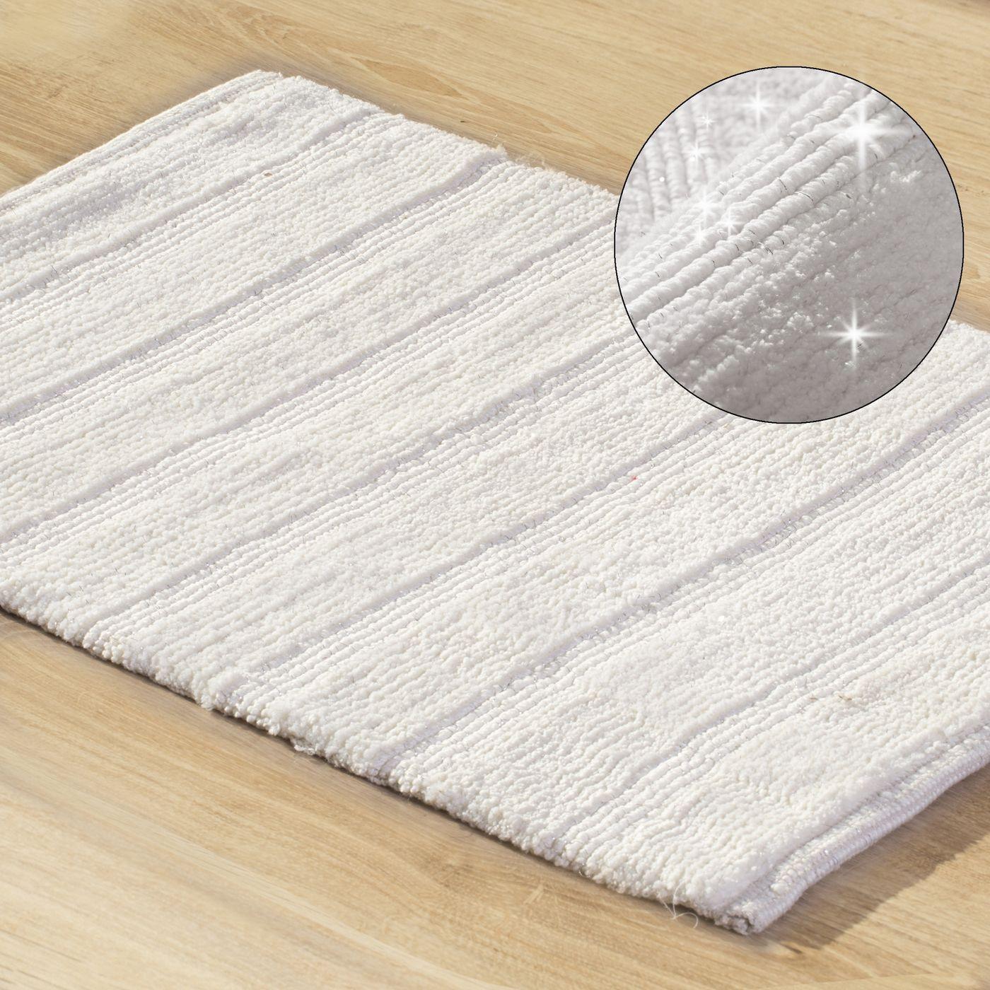 Łazienkowy dywanik w paski splot pętelkowy krem 50x70 cm
