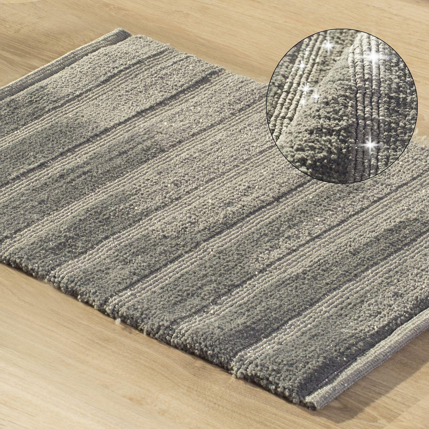 Łazienkowy dywanik w paski splot pętelkowy grafit 50x70 cm