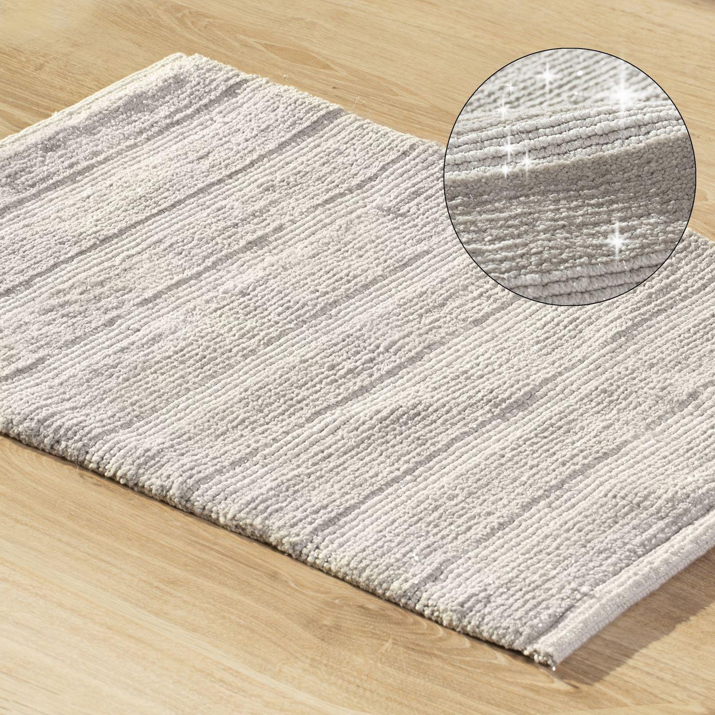 Łazienkowy dywanik w paski splot pętelkowy srebrny 60x90 cm