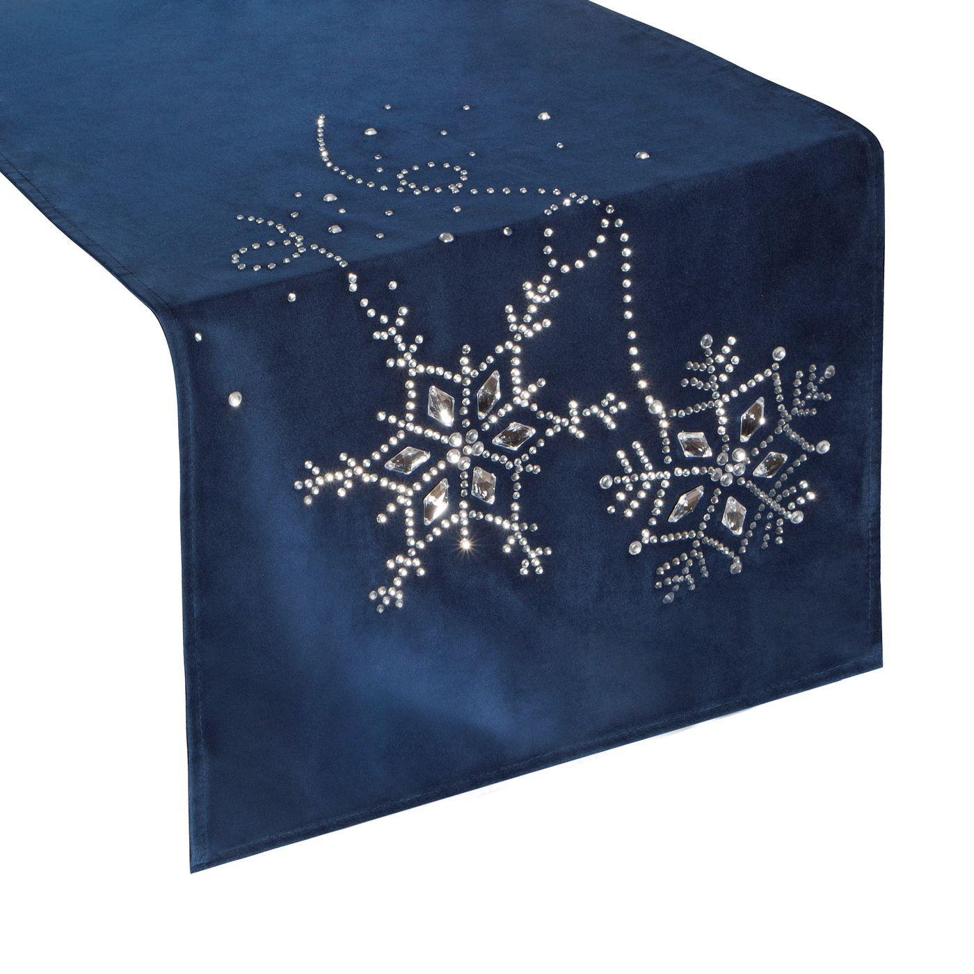 Granatowy bieżnik z kryształami świąteczny 40x140 cm