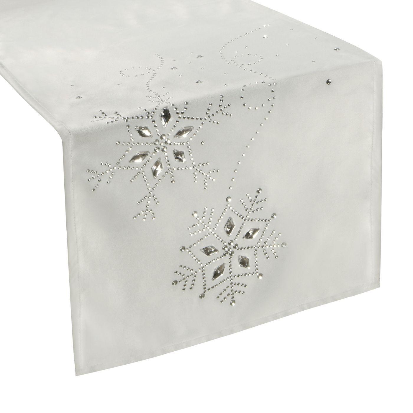 Srebrny bieżnik z kryształami świąteczny 40x140 cm