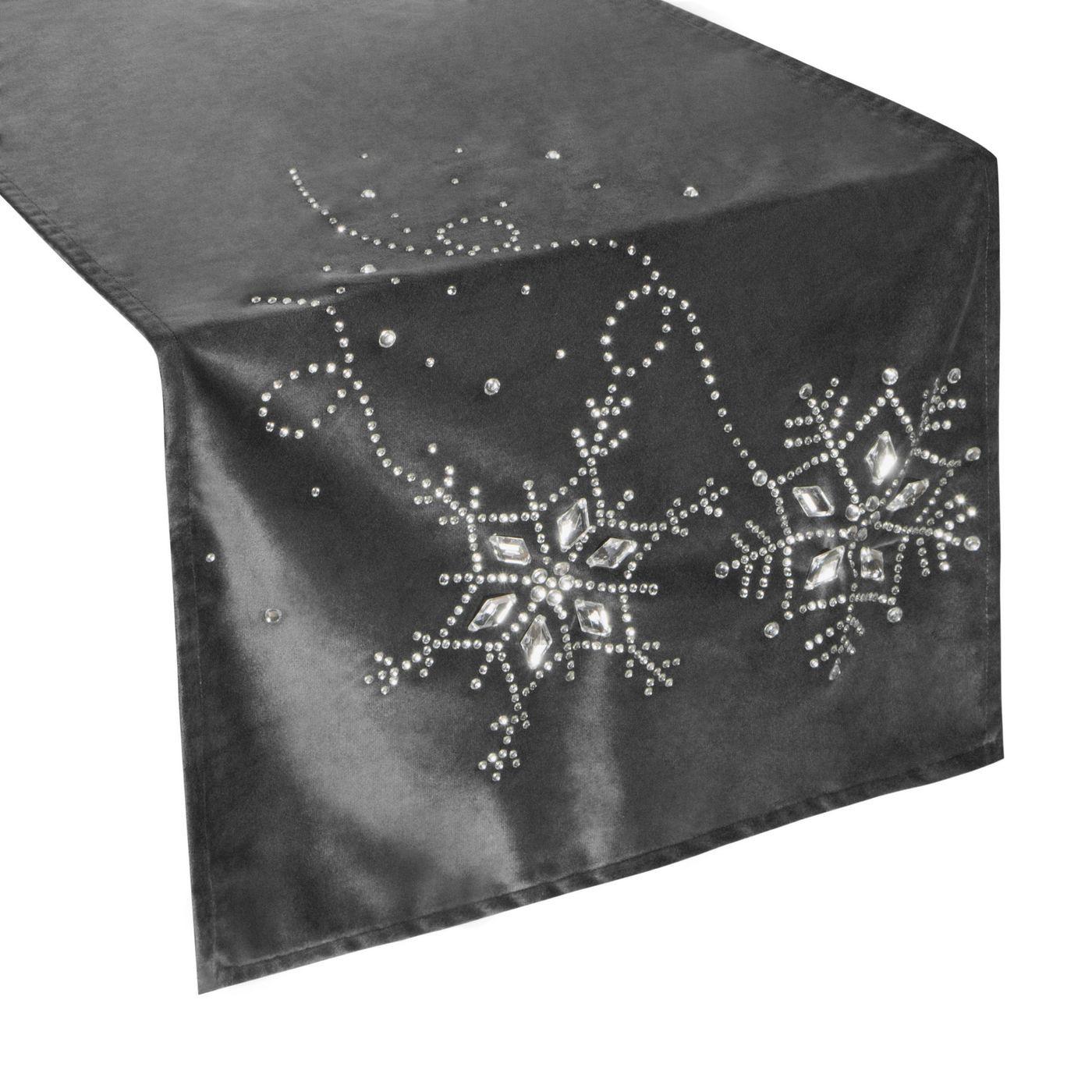 Stalowy szary bieżnik z kryształami świąteczny 40x140 cm